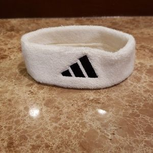 UNISEX WHITE AND BLACK TERRY CLOTH ADIDAS HEADBAND